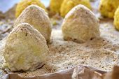 foto of saffron  - the real recipe of sicilian arancini with minced meat peas mozzarella and saffron - JPG
