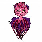 image of monsters  - The sea octopus the cartoon colored monster an violet and pink body - JPG
