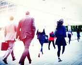 image of commutator  - Business Commuter Walking Travel Corporate Office Concept - JPG
