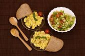 image of scrambled eggs  - scrambled eggs with bread and vegetables  - JPG