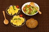 picture of scrambled eggs  - scrambled eggs with bread and vegetables  - JPG