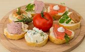 image of liver  - Assorted tapas with fish blue cheese caviar and liver - JPG