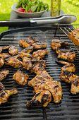 picture of braai  - Teriyaki chicken wings with garlic bread and herbs - JPG
