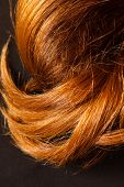 image of hair streaks  - Red Hair over black - JPG