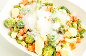 pic of snow peas  - Mixture of frozen vegetables carrots peas broccoli green beans Brussels sprouts cauliflower in white bowl with ice and snow - JPG