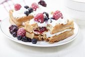 foto of berries  - Soft waffles with protein cream berry jam whipped cream and berries - JPG