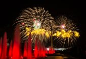 stock photo of nazi  - Festive fireworks in Moscow in honor of the 70 anniversary of the Victory of the USSR over nazi Germany in the Great Patriotic War 1941 - JPG