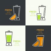 foto of blender  - Blender with freshly prepared natural drinks - JPG