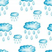 foto of rainy season  - Watercolor painted rainy clouds with raindrops - JPG
