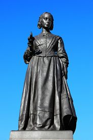 foto of statistician  - A bronze memorial statue of Florence Nightingale in Waterloo Place - JPG