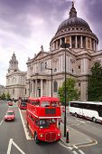 St. Paul's Cathedral and red double-decker in London