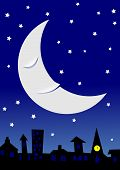 Sleepy moon in a starry night sky over a townscape.