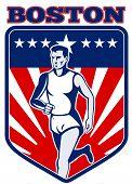 Постер, плакат: Бостонский марафон бегун запустить гонка