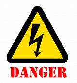 Sign Of Danger High Voltage Symbol With Text