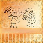 Elves Girl Card. Retro Style