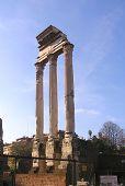picture of spqr  - the dioscuri temple in the roman forum in rome  - JPG