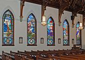Church Interior W/ Stained Glass