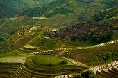 Cascading Flooded Rice Terraces Village Titian Longji