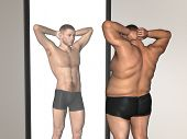 Concept or conceptual 3D fat overweight vs slim fit with muscles young man on diet reflecting in a m poster