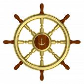 Golden Nautical Wheel Isolated