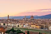 Florence, View Of Duomo And Giotto's Bell Tower, Santa Croce And Palazzo Signoria At Sunset.