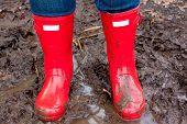 Rote Regen Stiefel