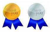 Gracias Premio medallas de oro y plata con cintas azules.