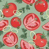 Vector seamless pattern with tomato. Abstract Food Vegetables background.