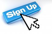 Sign Up button with mouse cursor over