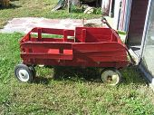 Child's Wood Red Wagon