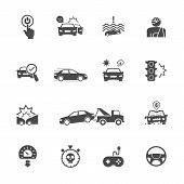 Causes Of Car Accidents, Start To Think Before You Start The Engine. Vector Icons Set Related To Car poster
