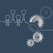 Abstract Vector Illustration Of Gears And Crankshaft On The Blue poster