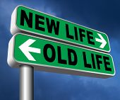 new and old life new beginning or start again last chance for you by remake or makeover  3D, illustr poster