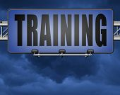training learning for knowledge and wisdom or physical fitness sport practice work out or education  poster