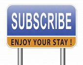 Subscribe here button online free subscription and membership for newsletter or blog join today 3D,  poster