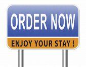 order now online at internet web shop button road sign billboard 3D, illustration  poster