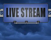 live stream music song audio or listen to radio streaming video road sign billboard 3D, illustration poster