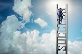 Businessman climbing the career ladder of success poster