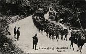 Yanks Going into Action France - Early 1900 postcard depicting Yankee soldiers going into action in