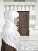 picture of middle eastern culture  - Muslim traditional woman standing outdoor - JPG
