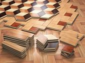 Stack ofr parquet wooden planks. Few types of wooden parquet coating. 3d illustration poster
