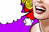 Pop art illustration beautiful smiling young Christmas woman, face detail. Pop art woman with speech poster