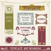 picture of art nouveau  - set of vector labels in art nouveau - JPG