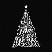 Vector Christmas Vintage Tree Of Holidays Lettering On Black Background. Merry Christmas Text For In poster