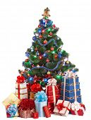Christmas tree with light and group gift box. Isolated.