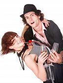Постер, плакат: Пара человек и девушка с вина танца Изолированные