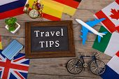 Travel Time - Blackboard With Text travel Tips, Flags Of Different Countries, Airplane Model, Litt poster