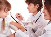 Doctor inject inoculation to child. Isolated.