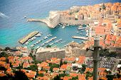 The view of red rooftops of Dubrovnik