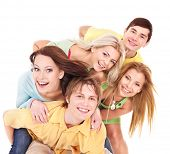 stock photo of teenagers  - Group of people on white - JPG